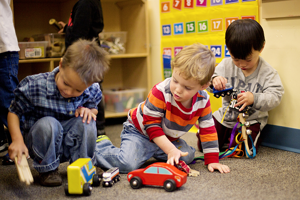 children playing with cars