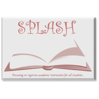 SPLASH logo with an open book