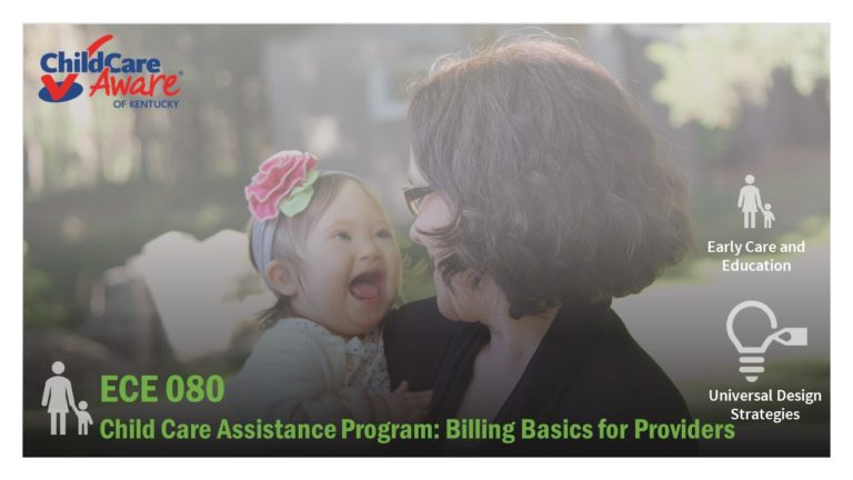 The ECE 080 course image features a smiling child being held by a woman whose face is turned away