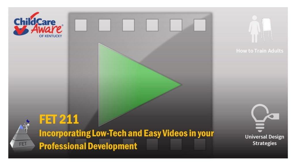 The course catalog image for FET 211 features a video image superimposed with a play button.