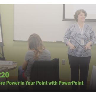The course catalog image for FET 220 features a woman at the front of an audience, speaking. Her arms are extended, as though she's making a point.
