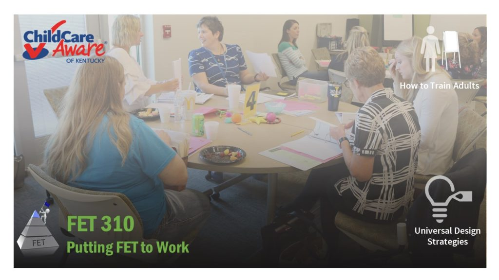 Course catalog image for Putting FET to Work features a training room with multiple people speaking to each other.