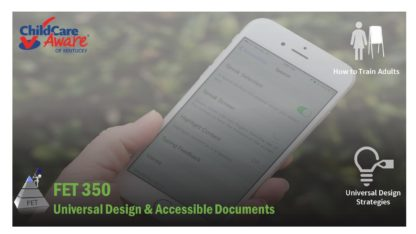 The course catalog image for FET 350 features a person holding a smart phone. On the screen are the accessibility features for ios.