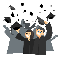 Graphic with two students in the front wearing graduation caps and gown. There are other students with cap and gowns in the background but they are greyed out.