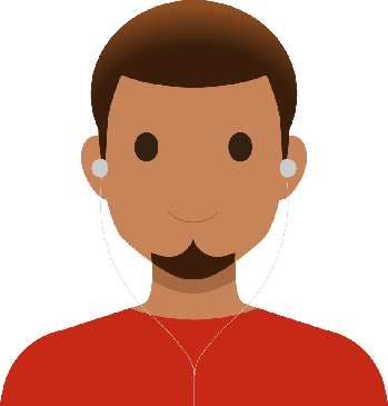 Graphic of a male student wearing earbuds.
