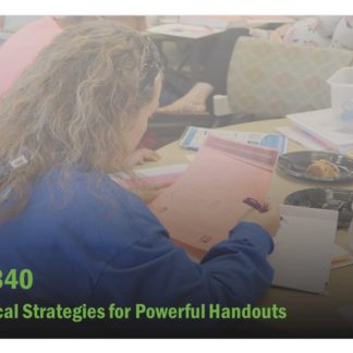 The course catalog image for FET 340 is the back of a woman at a training, featuring the handout she is holding.