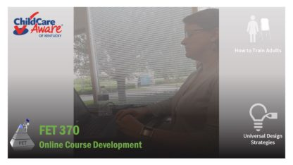 Course catalog image for FET 370 features a woman on a computer, sitting in front of a window.
