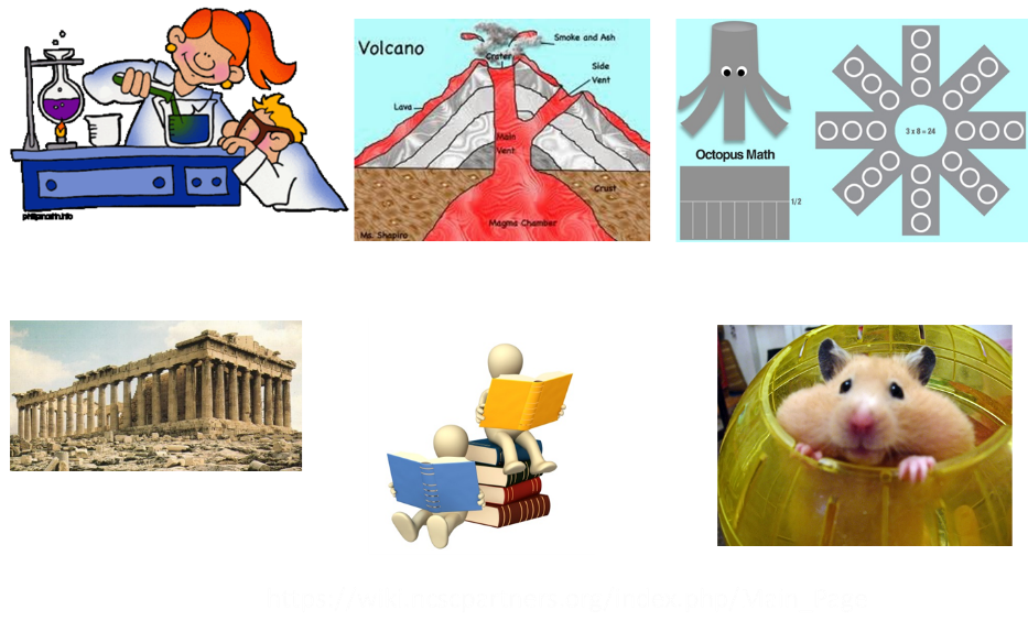 This is a collection of clip art. The first clip is a woman mixing chemicals in what might be a science classroom. A student stands at the end of the table peering at the chemicals. The next shows the parts of a volcano, including the lava, crater, smoke and ash, side vent, main vent, magma chamber, and crust. The third clip is an outline of how to create an octopus out of paper. On the next row, the fourth clip is the ruins of a greek building. The fifth clip is two people sitting on books reading. The sixth and last clip is a hamster peeking out of a yellow ball.