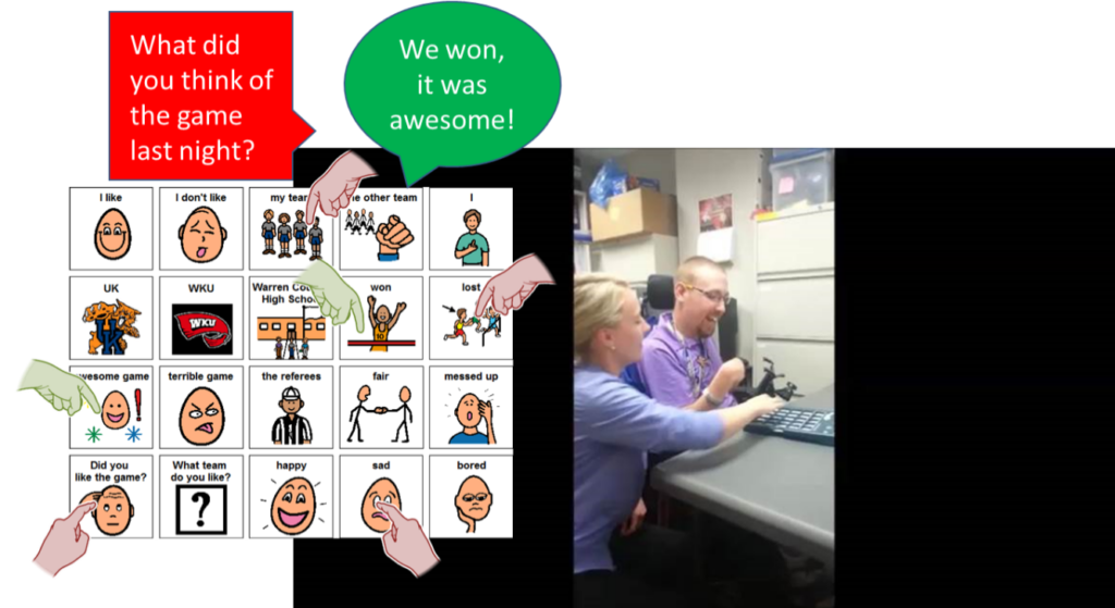 """A core board has a series of hand gestures pointing to statements. There is a red speech bubble that says """"What did you think of the game last night?"""" The next speech bubble is green and states """"We won, it was awesome!"""""""