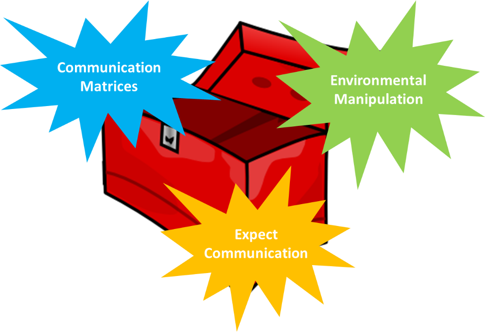 A box with word art emerging. The word art includes Communication Matrices, Expect Communication, and Environmental Manipulation