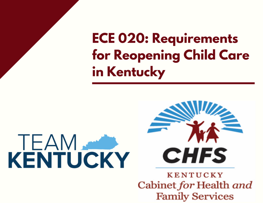 The ECE 020 course catalog image features the name of the course and the Team Kentucky and Cabinet for Health and Family Services logos