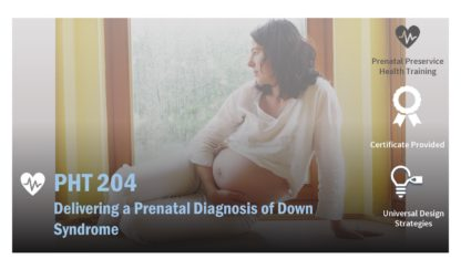 The course catalog image for PHT 204 features a pregnant woman looking out a window.