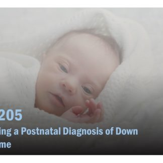 The course catalog image for PHT 205 features an infant with Down syndrome wrapped in a white blanket.