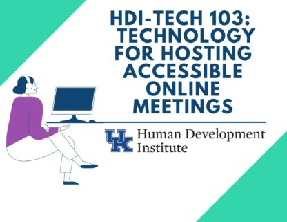 The HDI Tech 103 course image features a woman working on a computer