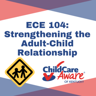 The ECE 104 course image features the course name, the child care aware logo, and an image of an adult holding the hand of a child.