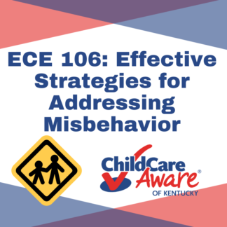 The ECE 105 course image features the course name, the child care aware logo, and an image of an adult holding the hand of a child.