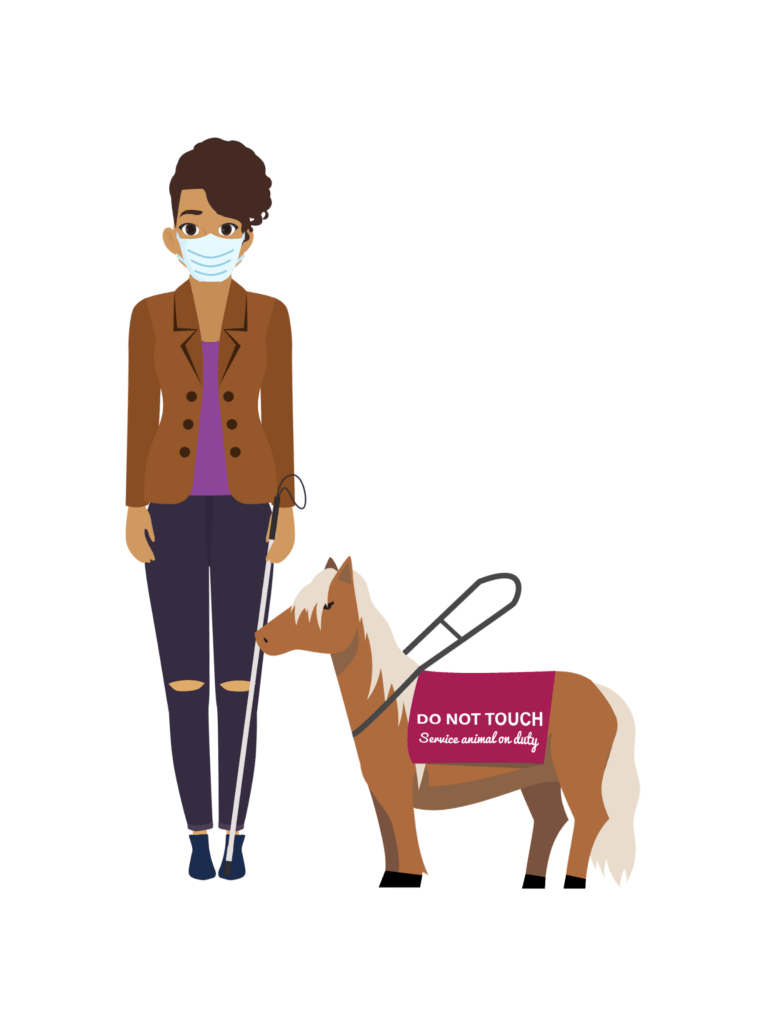 Carrie, a Black woman in her 30s wears a facemask, has a white cane and a miniature horse that serves as her service animal