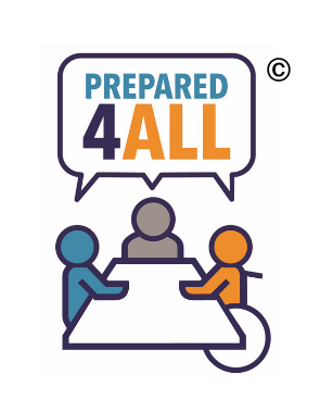 The following is alt text for an image. The Prepared4ALL logo shows three figures seated at a table. A collective speech bubble above them says Prepared4ALL.