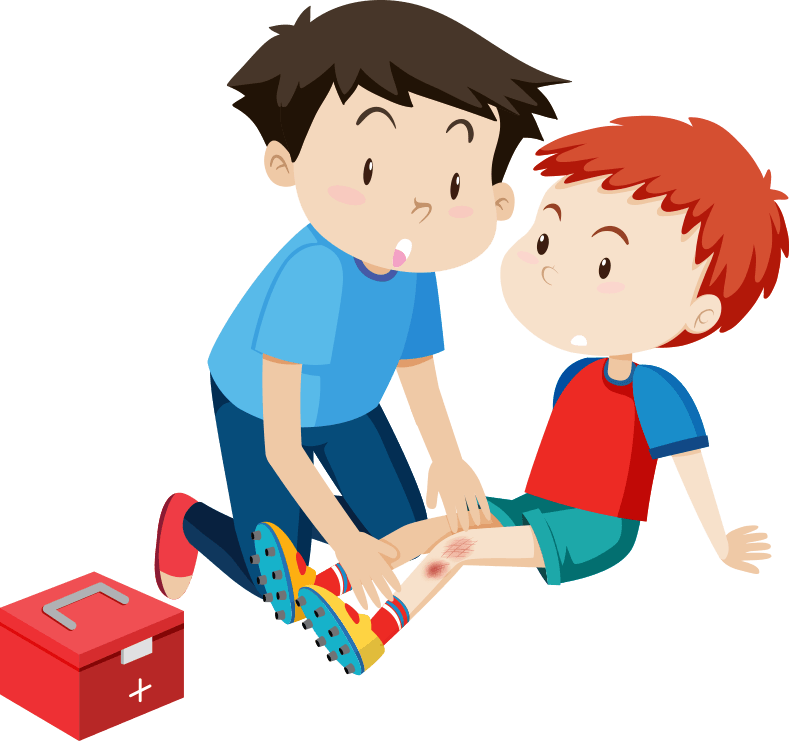 boy applying first aid to another boy who has a scraped leg