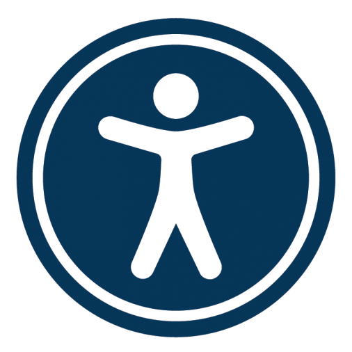 accessibility widget logo showing a stick figure person surrounded by a blue circle