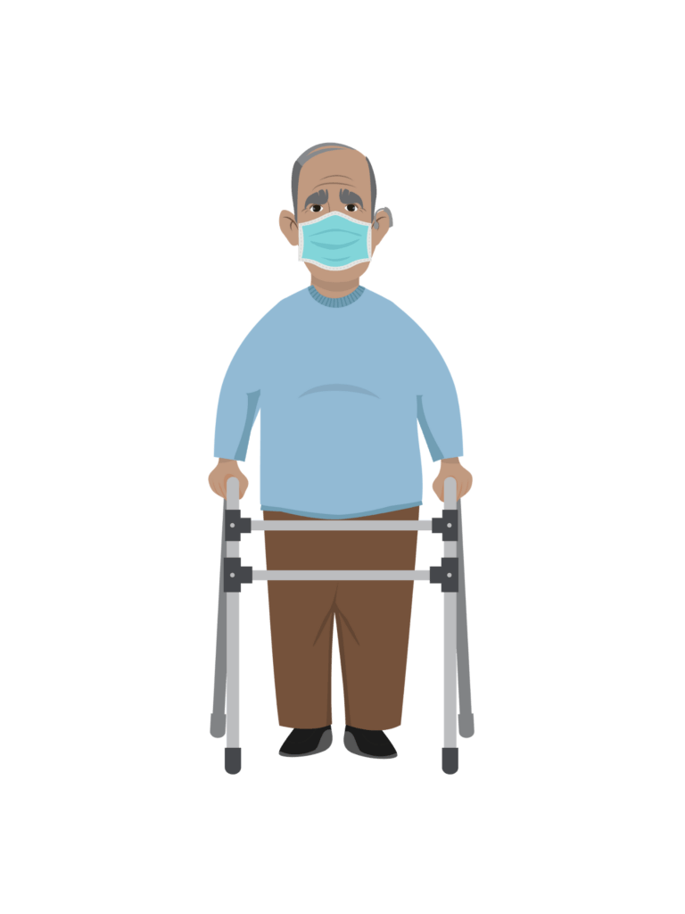 Reuben, a Latino man in his 60s, wears a facemask and uses a walker.