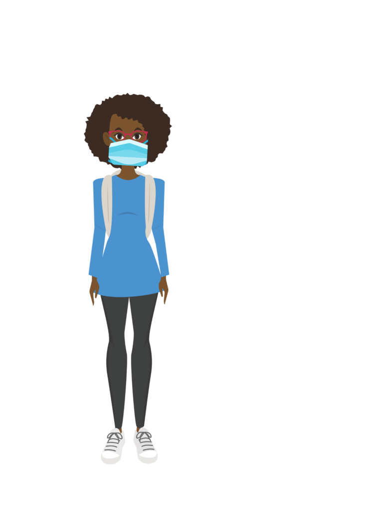 Sondra, a Black woman in her 20s, wears a facemask and eyeglasses