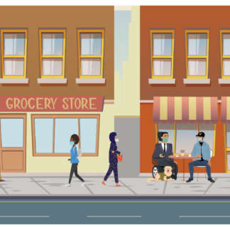 Communiity members of different ages, genders, abilities, and races are in downtown Disasterville near a grocery store, all wearing face masks. Some people are walking in groups and some are sitting down at tables talking. Two people have service animals.