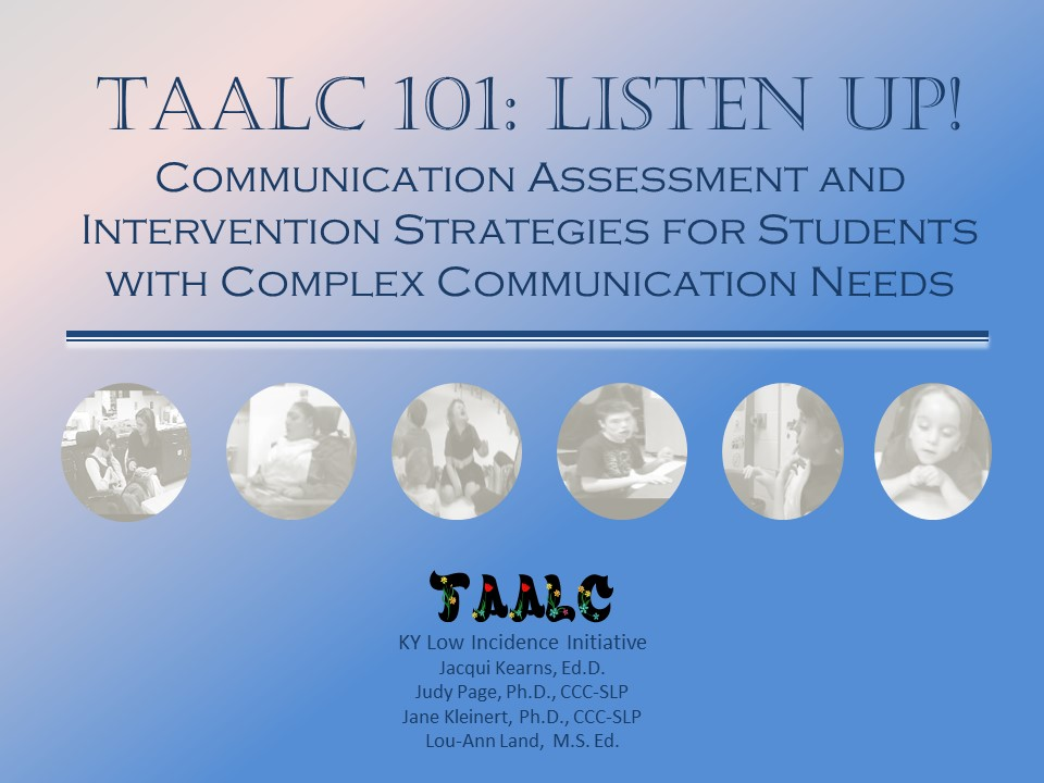 The TAALC Course Image features a gradient backgroun from pink to blue, and TAALC 101: Listen Up heading.