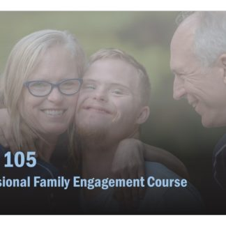 The course image for EMP 105 features a woman hugging a young man, with an older man smiling at the pair.