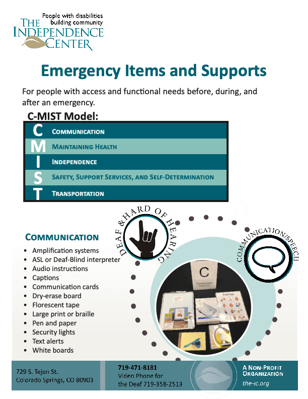 Overview of emergency items and supports before, during, and after an emergency following the CMIST framework