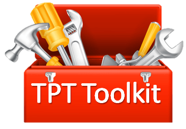 red toolbox with tools sticking out and words TPT Toolkit on front