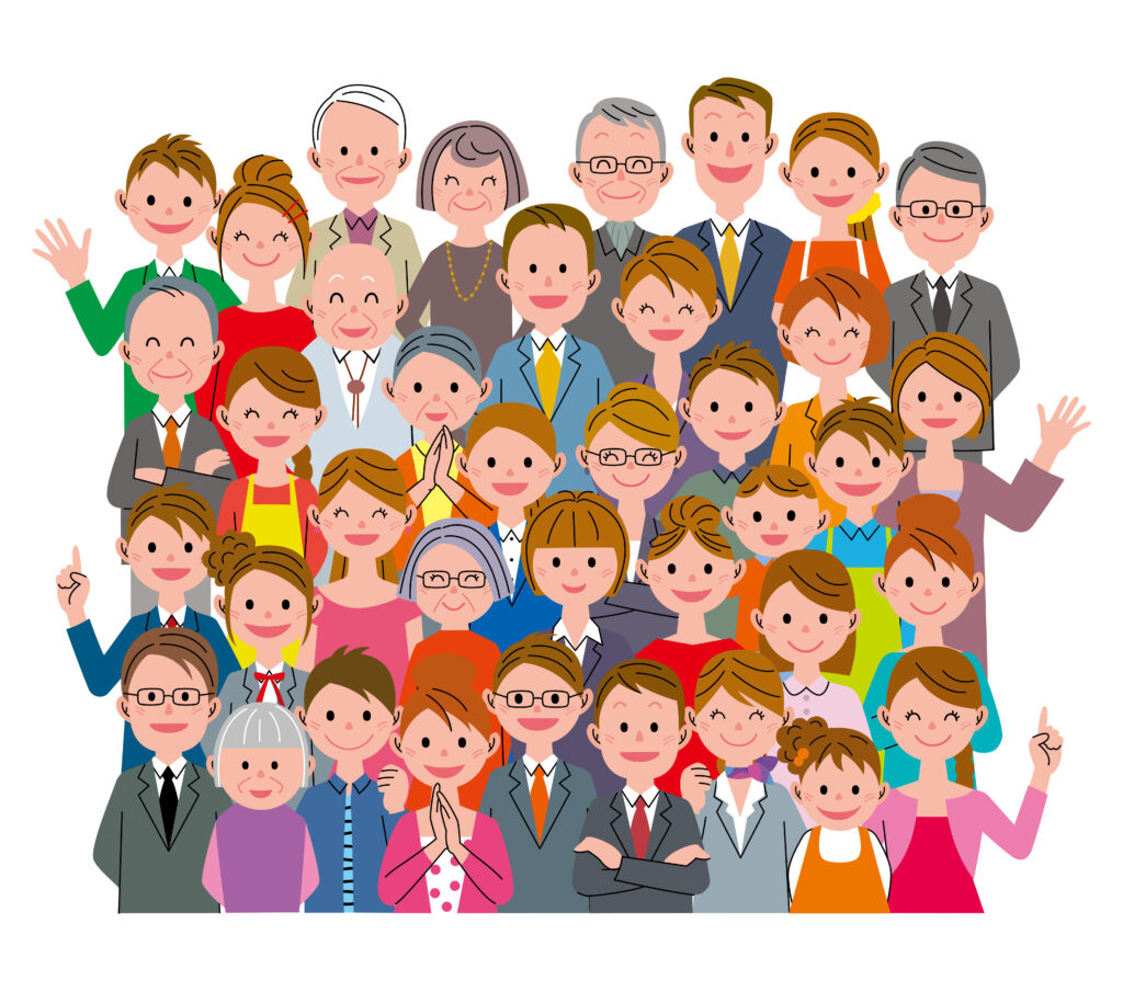 Illustration with many people, most of whom are waving