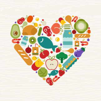 Food icon heart shape for health concept
